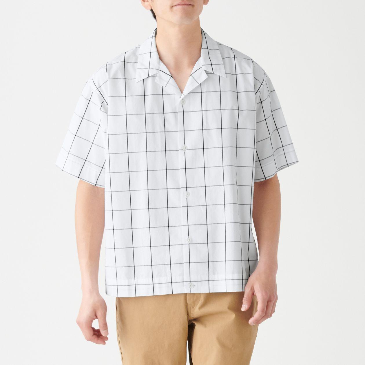新疆綿ドロップショルダーチェック開襟半袖シャツ