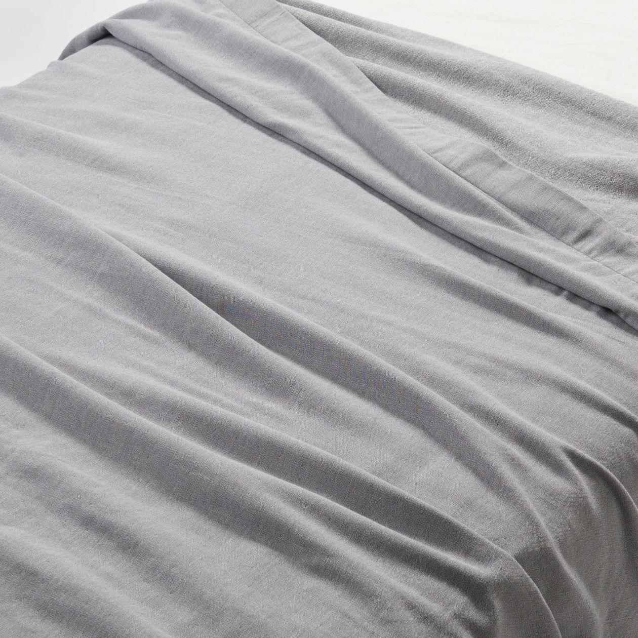 綿片面ガーゼケット・S/オフ白 杢グレーの写真