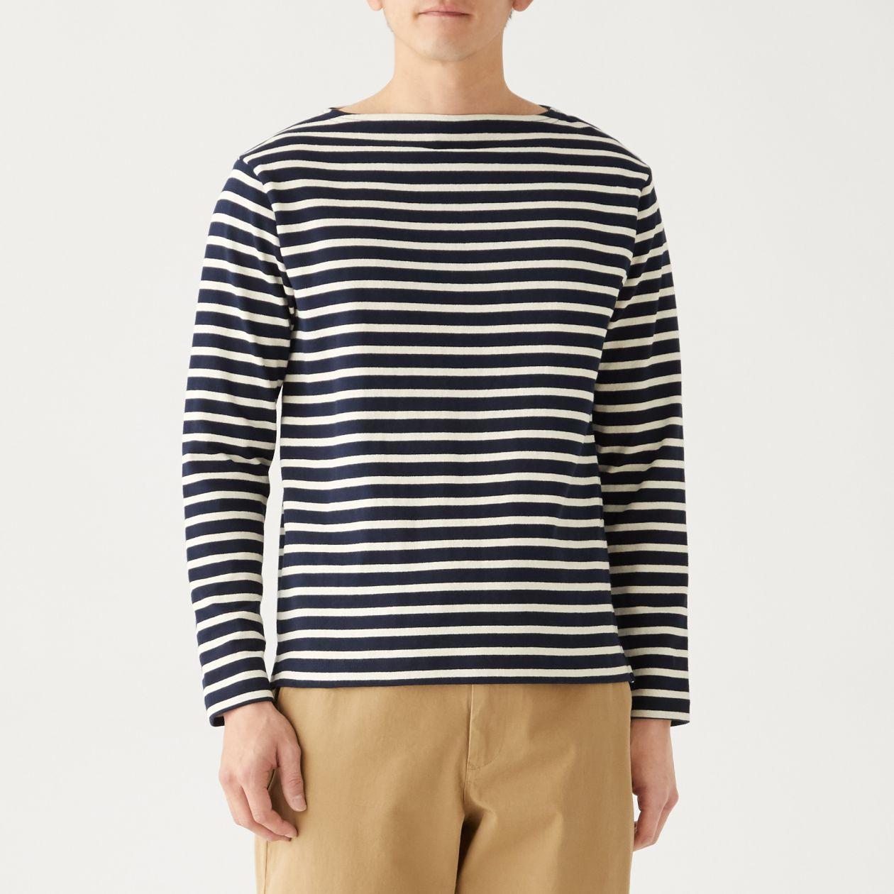 インド綿太番手ボーダー長袖Tシャツ
