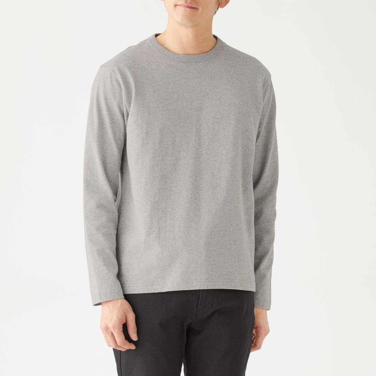 インド綿太番手クルーネック長袖Tシャツ