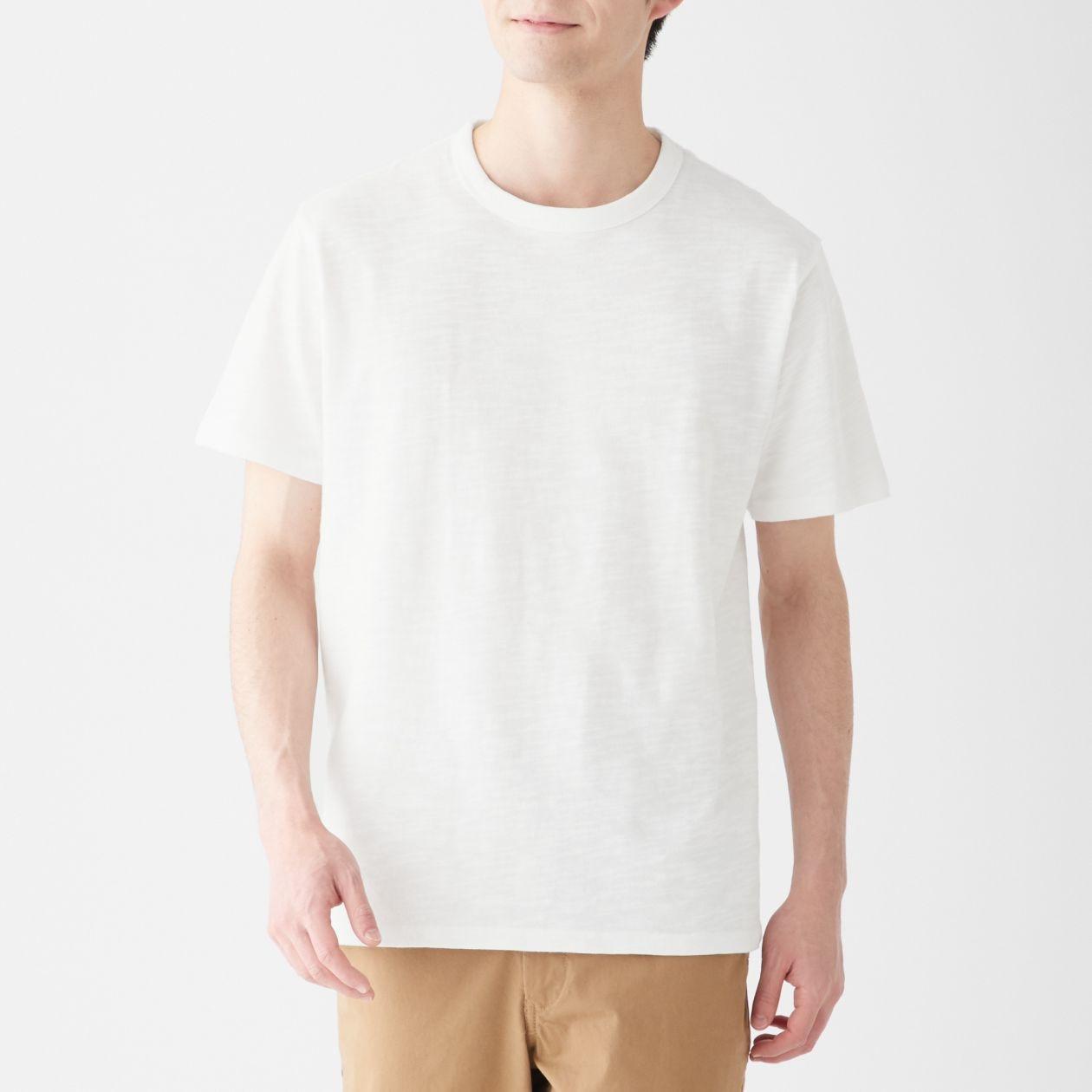 インド綿ムラ糸クルーネック半袖Tシャツ