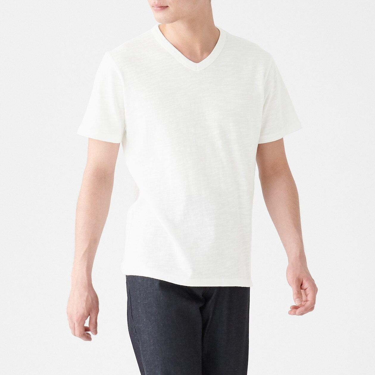 インド綿ムラ糸Vネック半袖Tシャツ