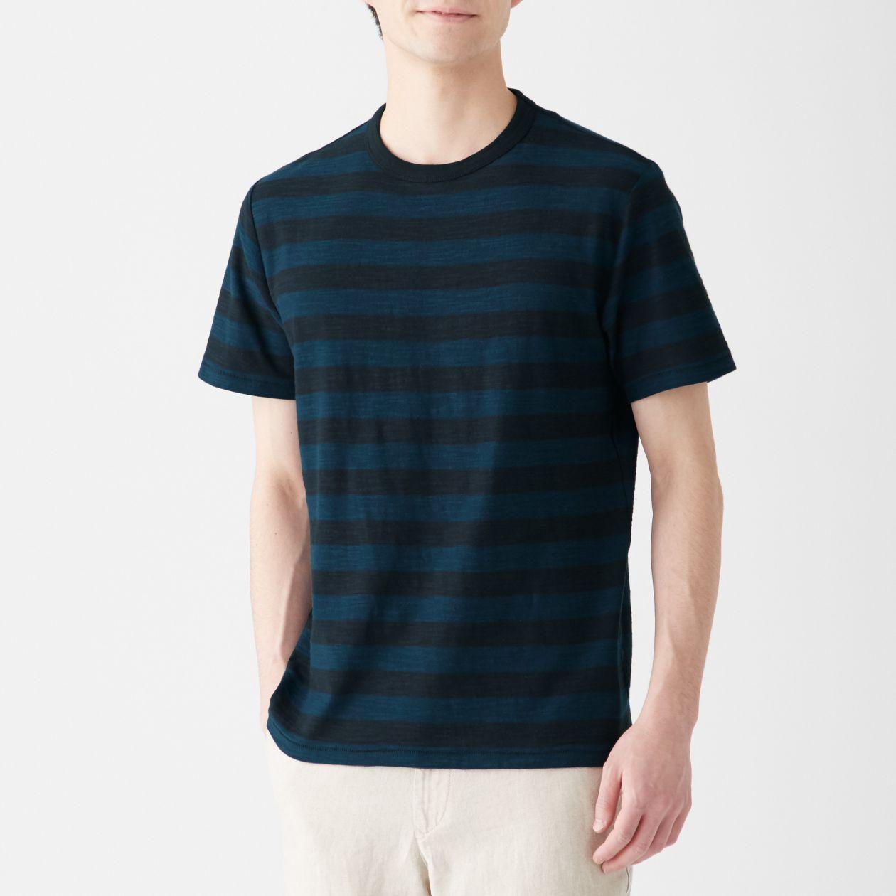 インド綿ムラ糸ボーダー半袖Tシャツ