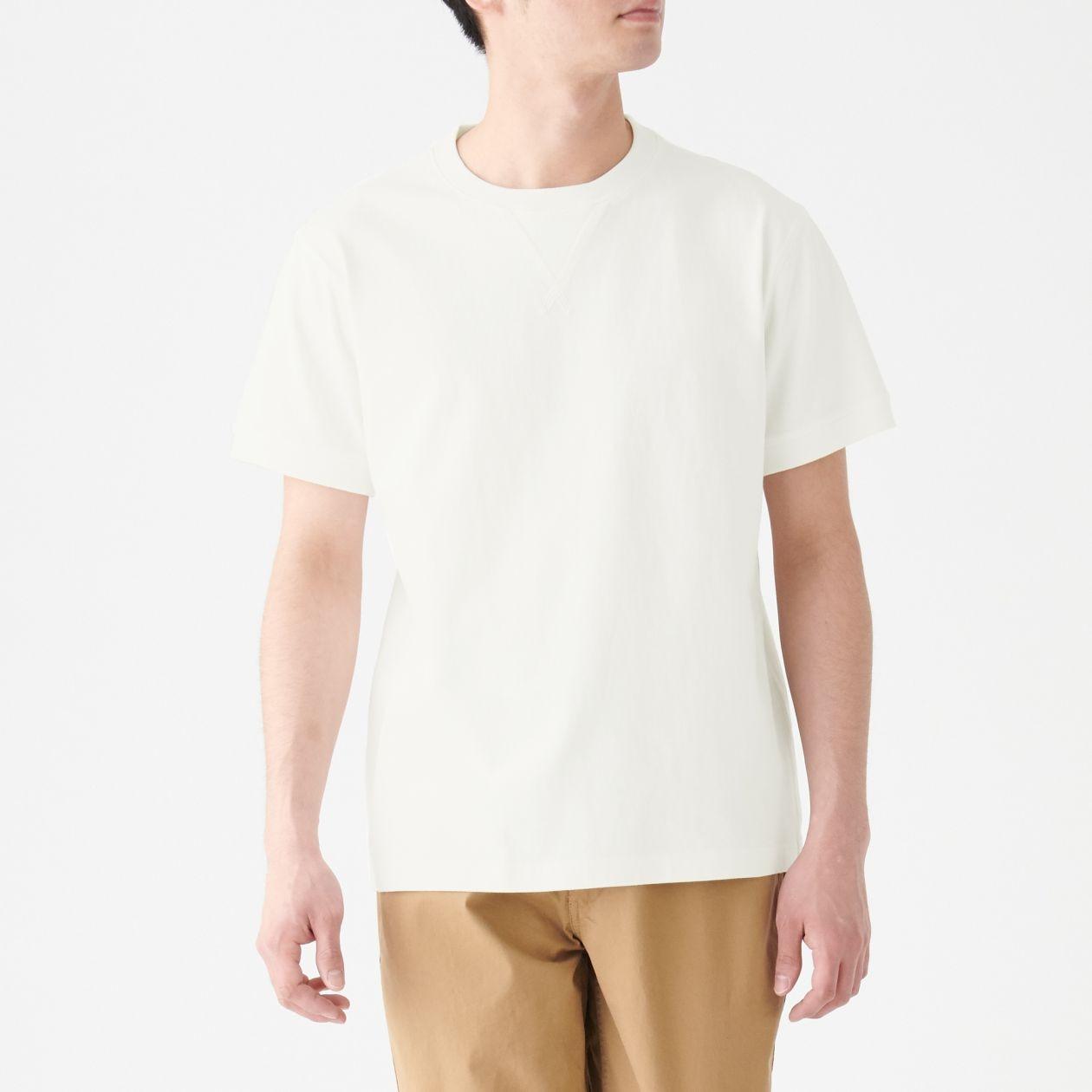太番手 天竺編みガゼット付き半袖Tシャツ