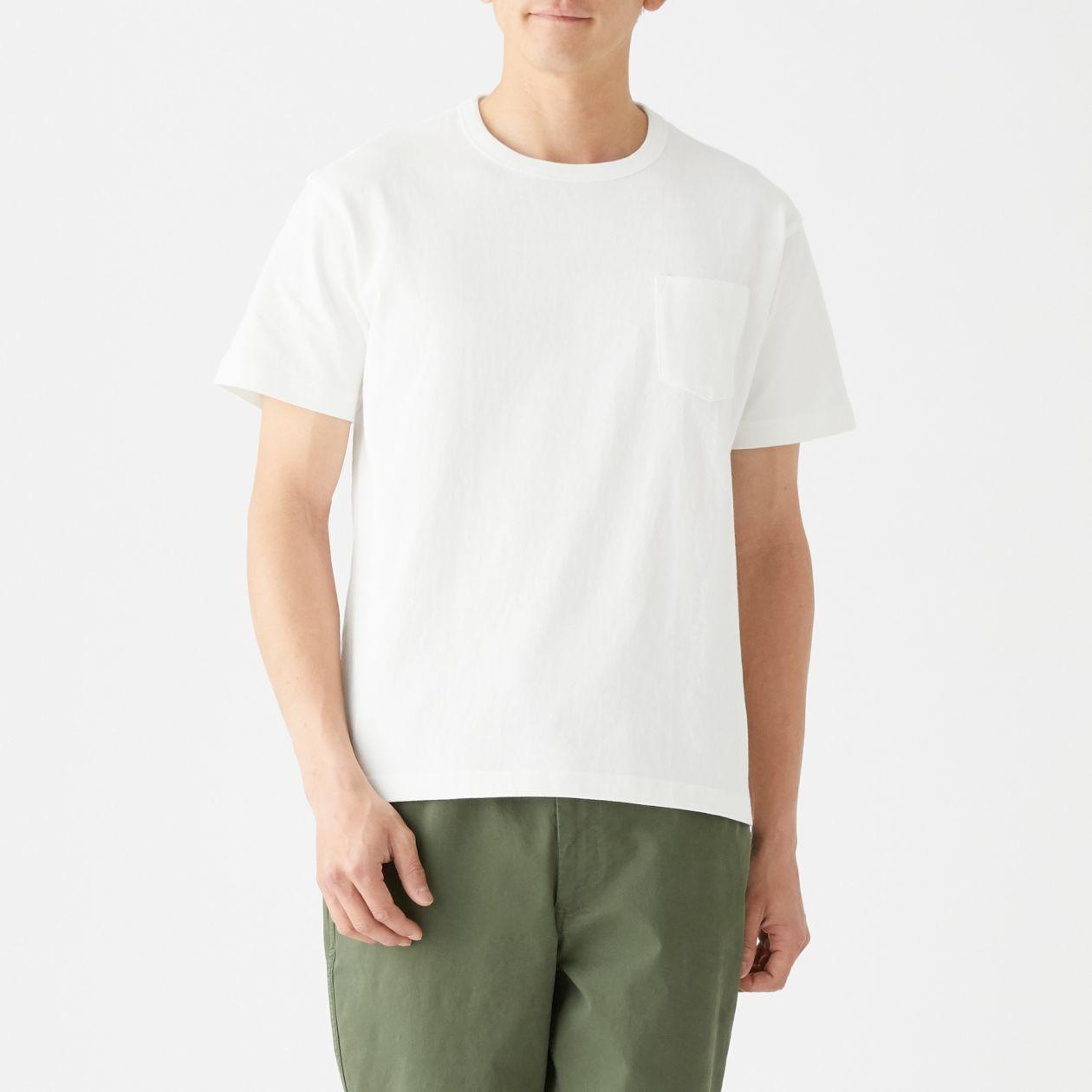 太番手 天竺編みポケット付き半袖Tシャツ 紳士S・オフ白