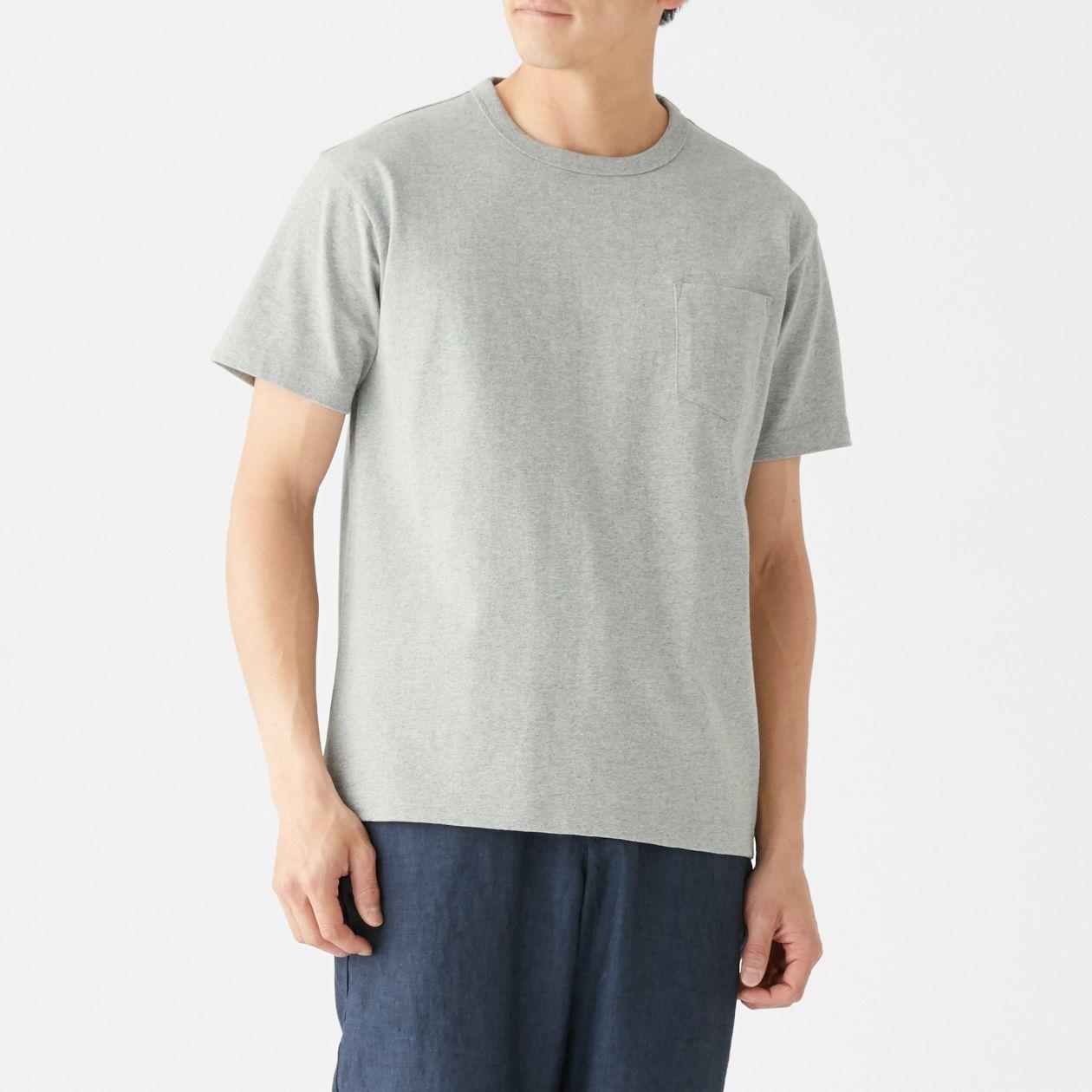 太番手 天竺編みポケット付き半袖Tシャツ