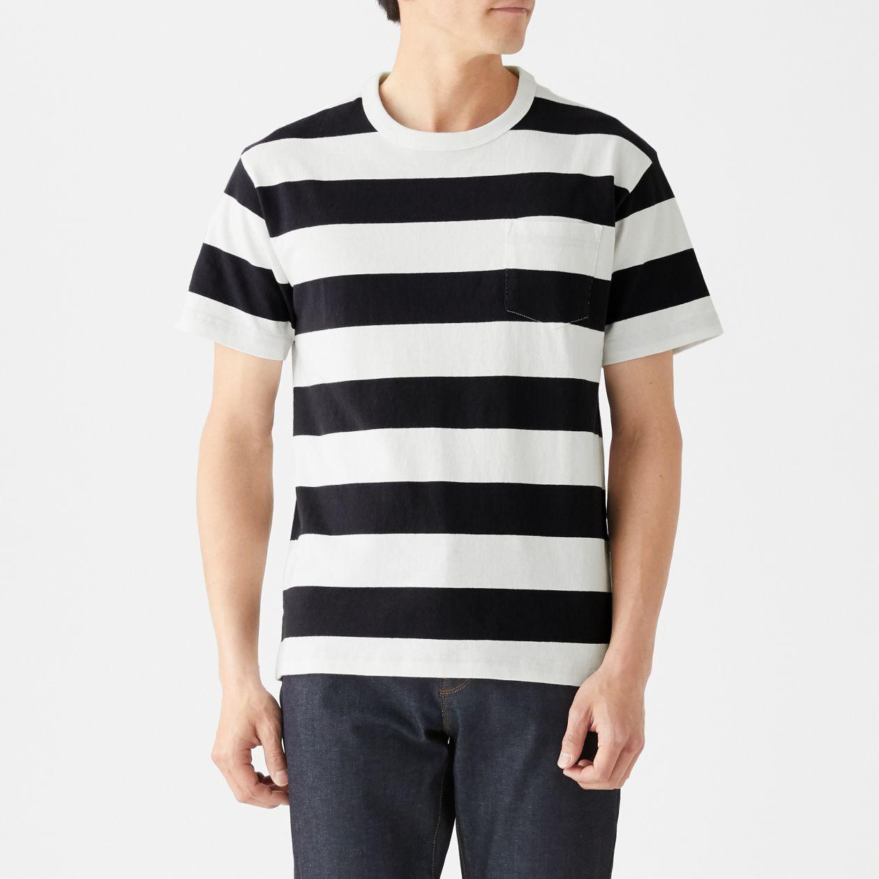 太番手 天竺編みボーダーポケット付き半袖Tシャツ