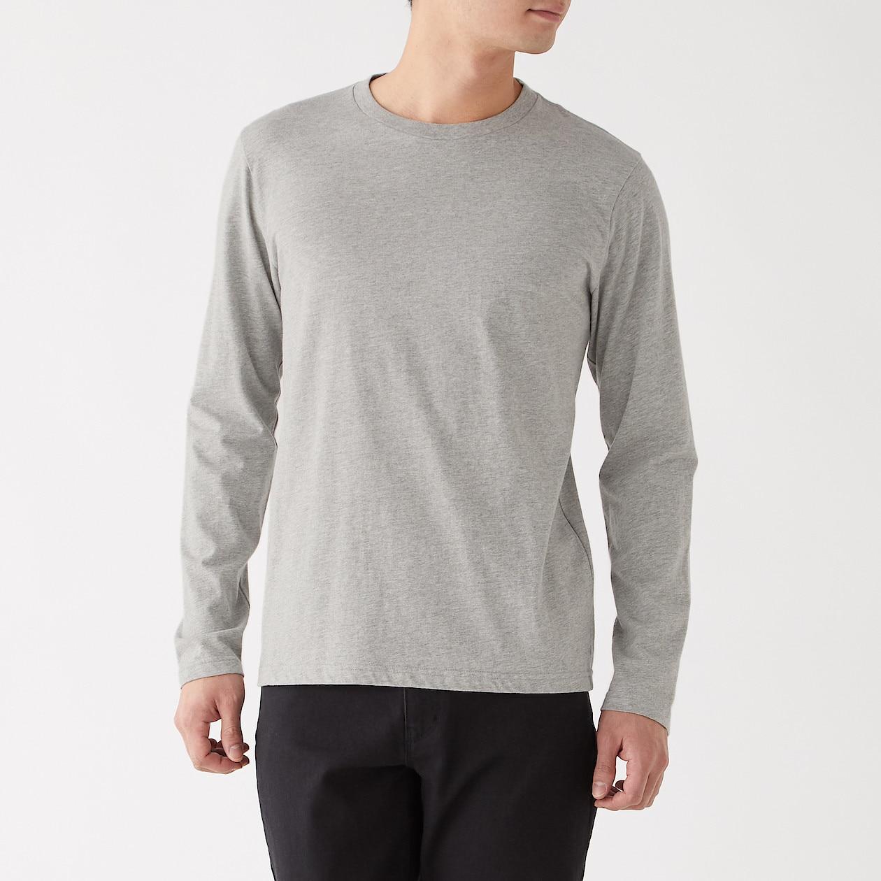 インド綿 天竺編みクルーネック長袖Tシャツ