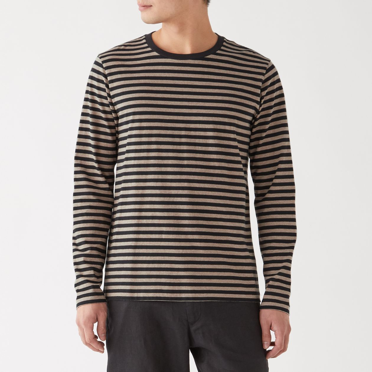 インド綿 天竺編みボーダークルーネック長袖Tシャツ