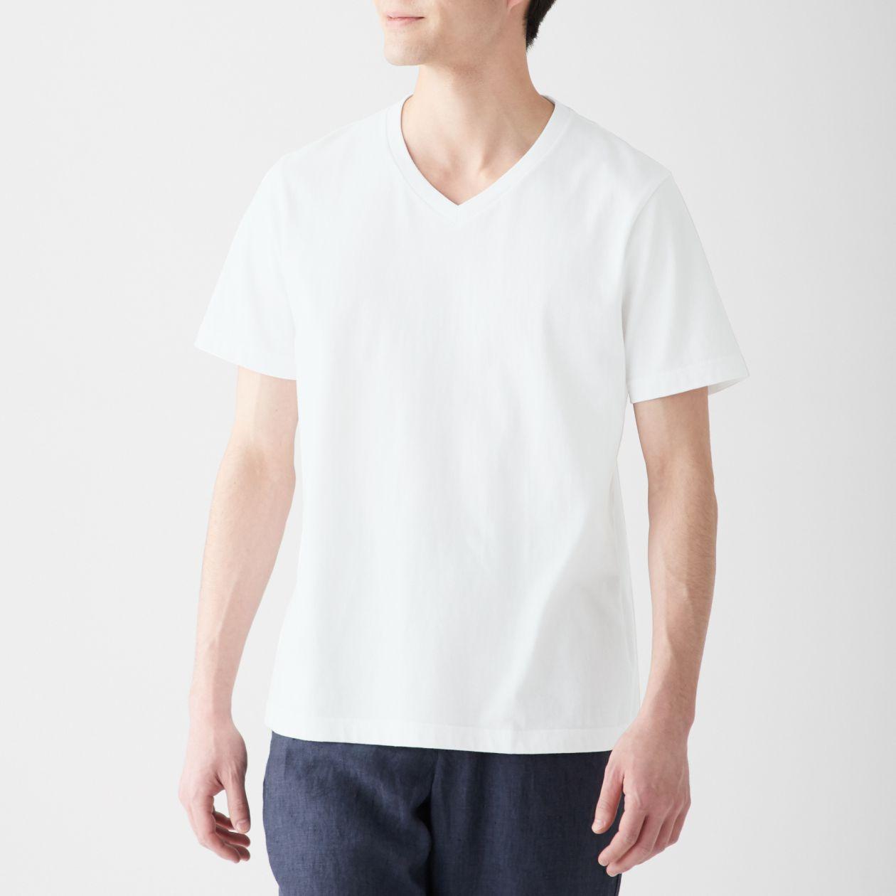 インド綿 天竺編みVネック半袖Tシャツ