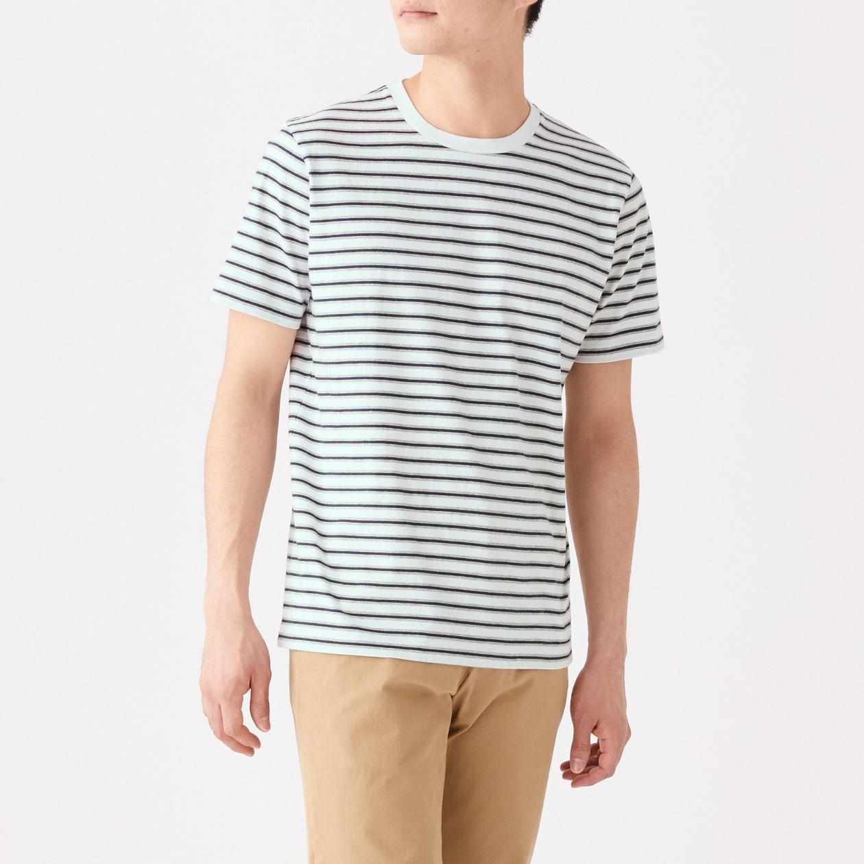 インド綿 天竺編みボーダー半袖Tシャツ
