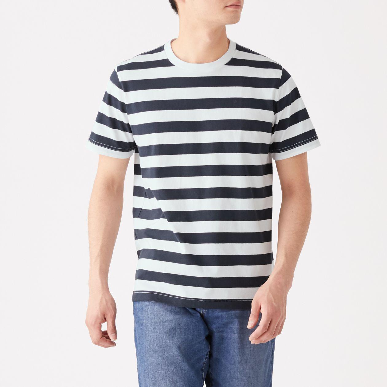 インド綿 天竺編み太ボーダー半袖Tシャツ