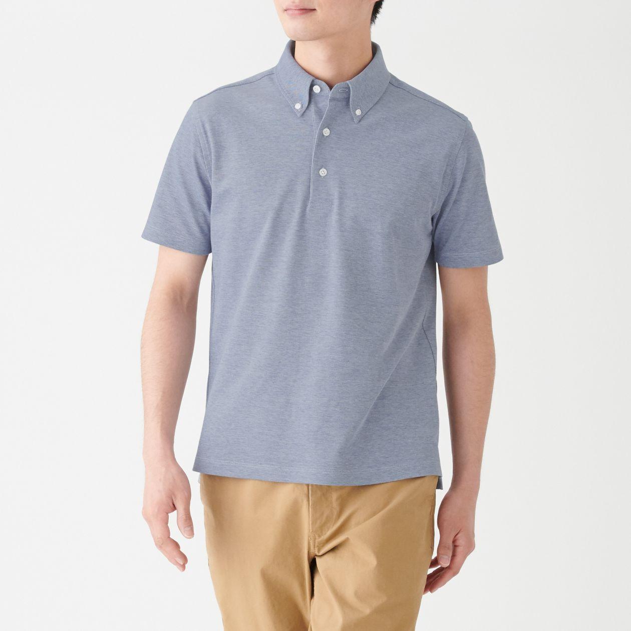 涼感 鹿の子編みボタンダウンポロシャツ