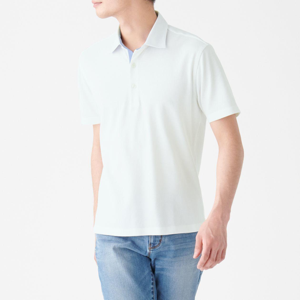 涼感 鹿の子編み布帛使いポロシャツ