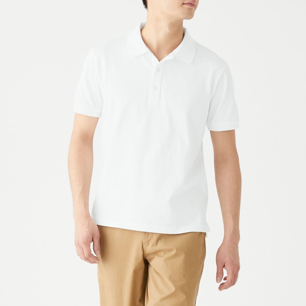新疆綿ムラ糸半袖ポロシャツ