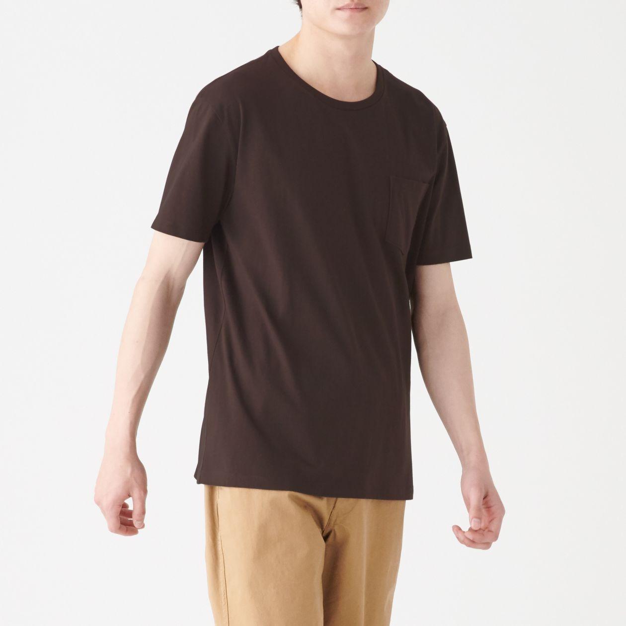 インド綿 ポケット付きクルーネックTシャツ