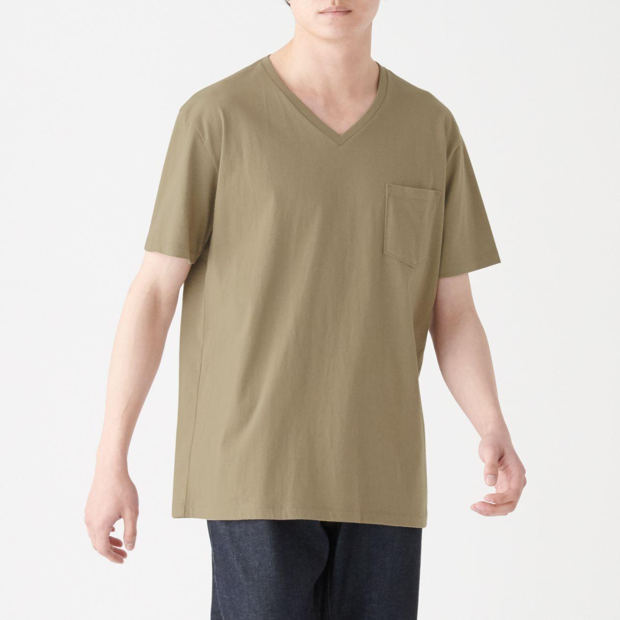 インド綿 ポケット付きVネックTシャツ