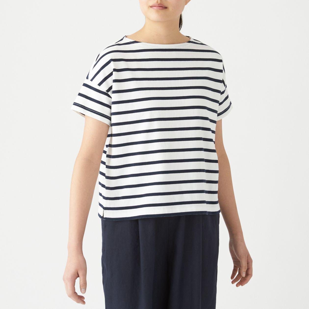 太番手天竺編みボートネックワイドTシャツ(半袖)