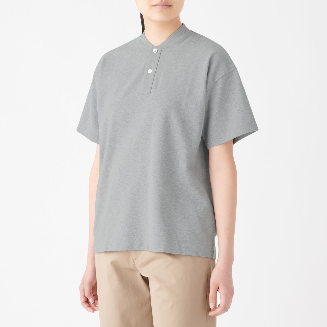56306aa2 Cotton Pique Collarless Polo Shirt | 無印良品 MUJI