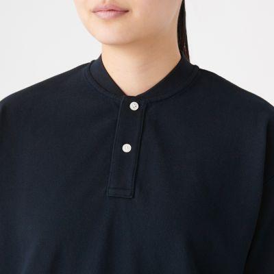 black collarless polo shirt