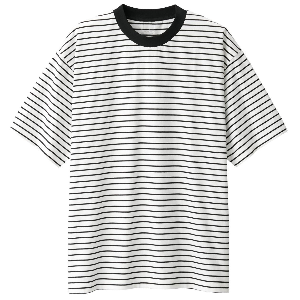 綿ドロップショルダーボーダーTシャツ