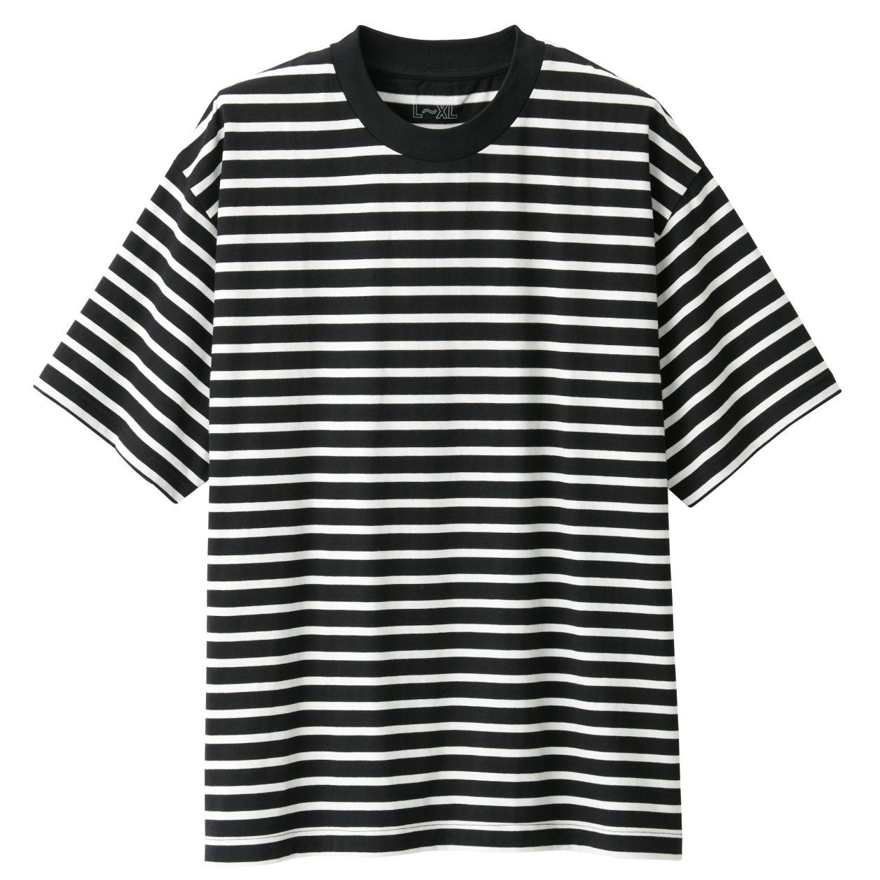 綿ドロップショルダーボーダーTシャツ S~M・黒×ボーダー