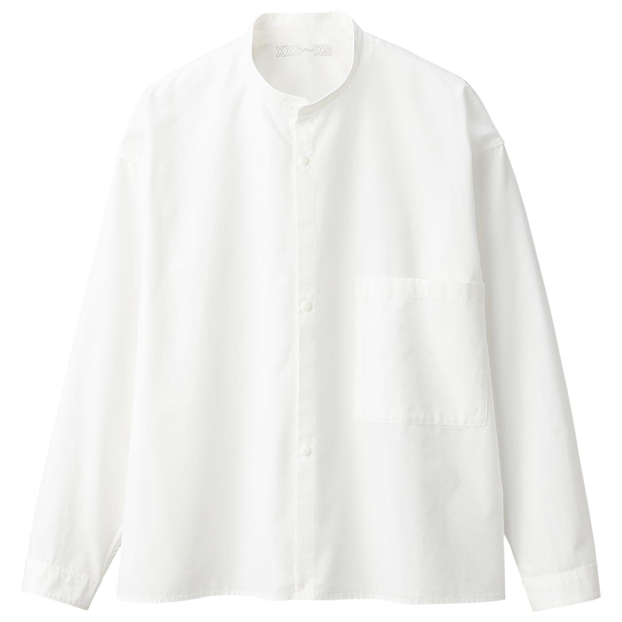 綿高密度スタンドカラーシャツ