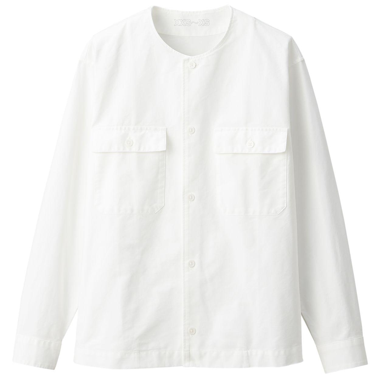 綿オックスフォードノーカラーシャツ