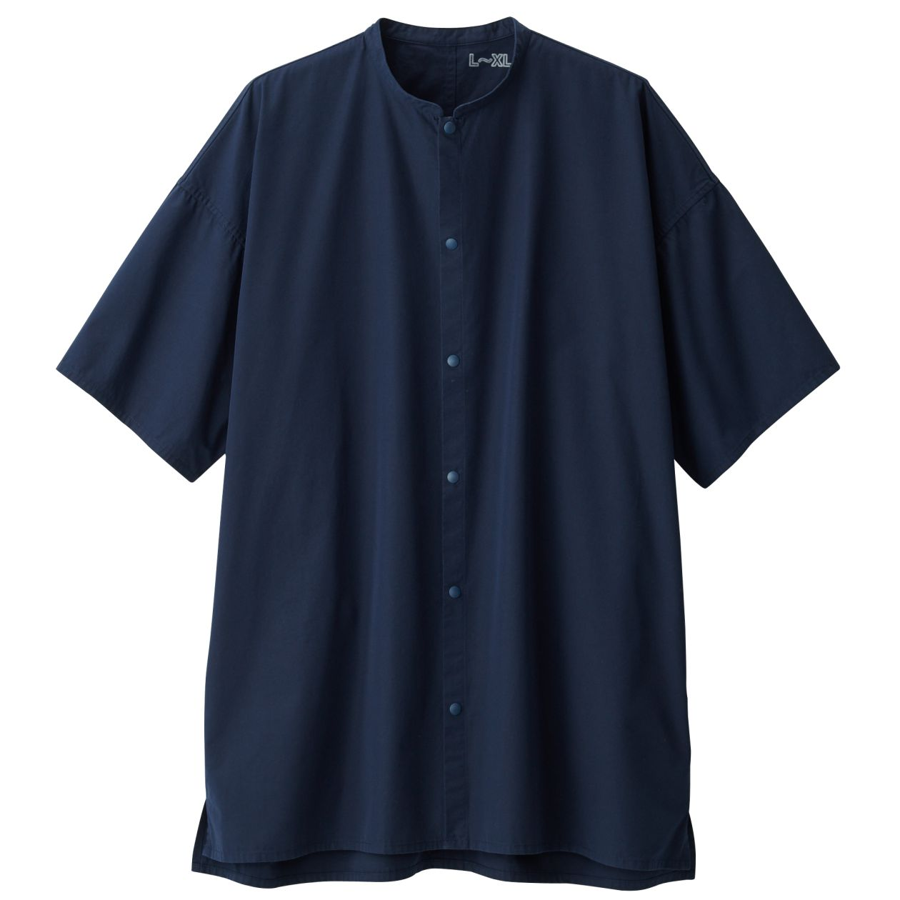綿ブロードスタンドカラーロングシャツ