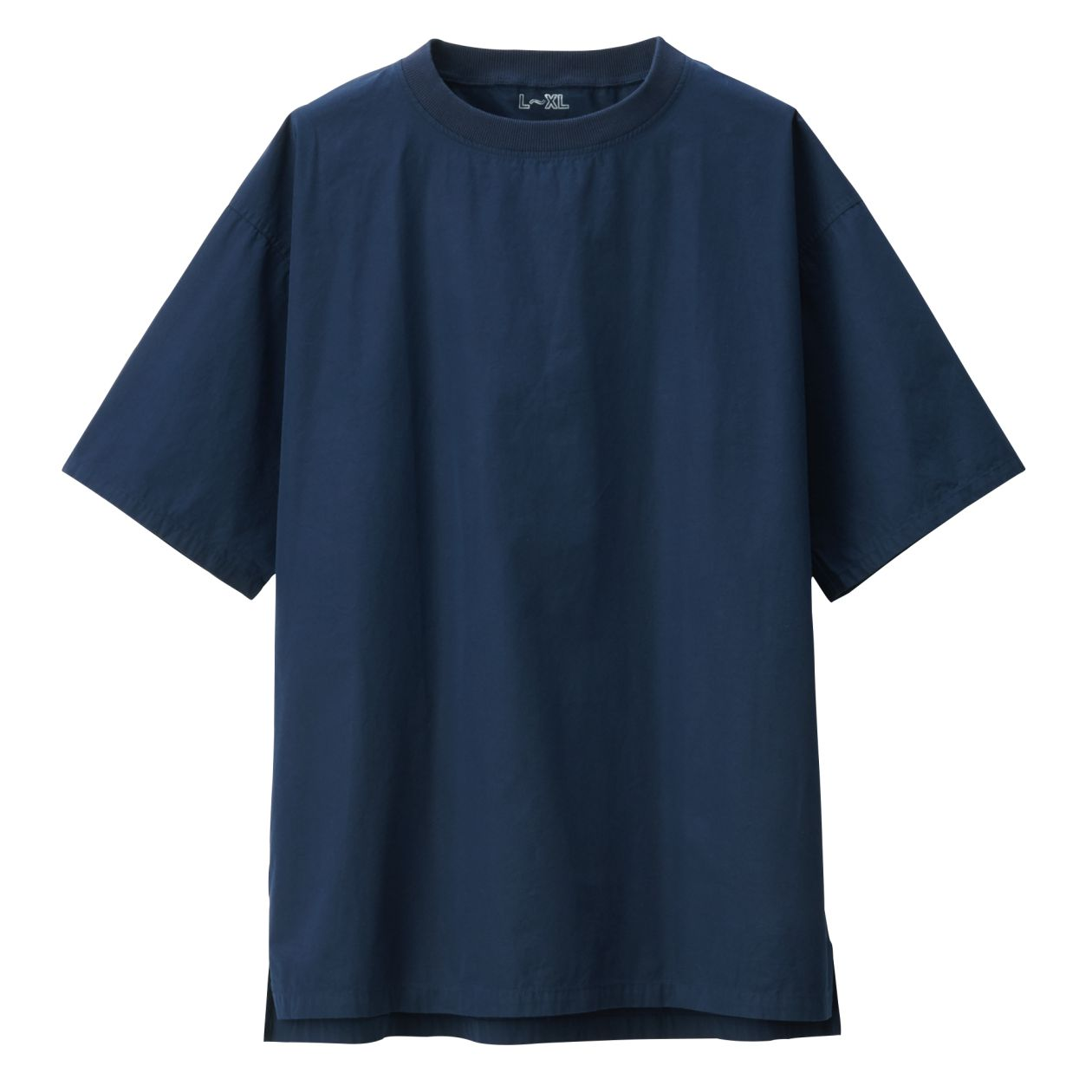 綿ブロードクルーネック半袖ロングTシャツ