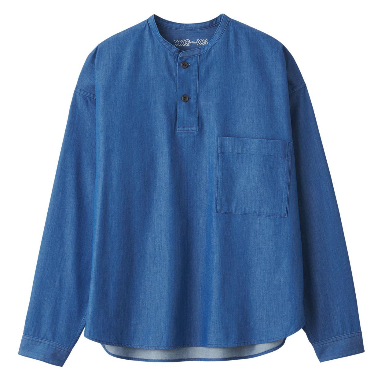 ジャパンファブリックインディゴスタンドカラーシャツ