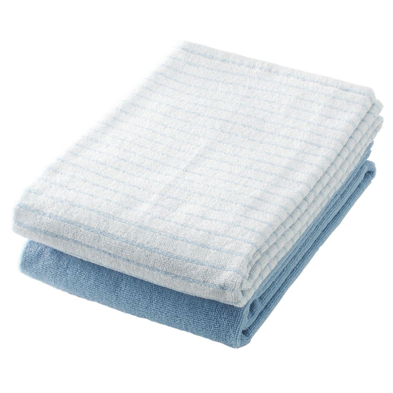 綿ボーダースモールバスタオルセット/杢ブルー 杢ブルー