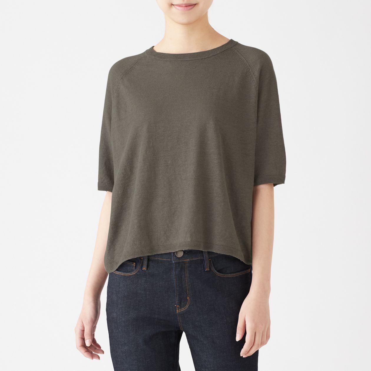 UVカットフレンチリネン半袖セーター