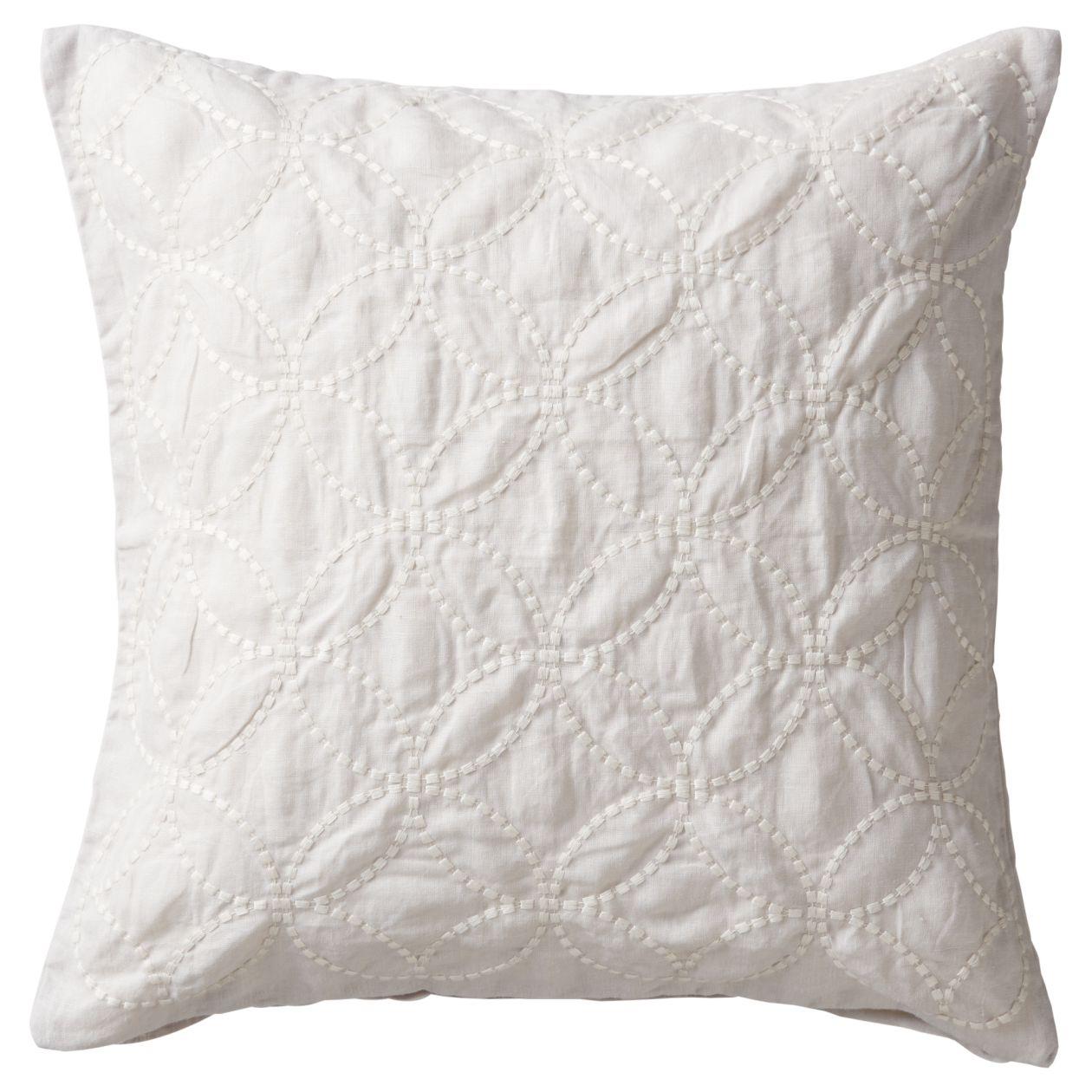 麻平織刺繍クッションカバー/グレー×オフ白