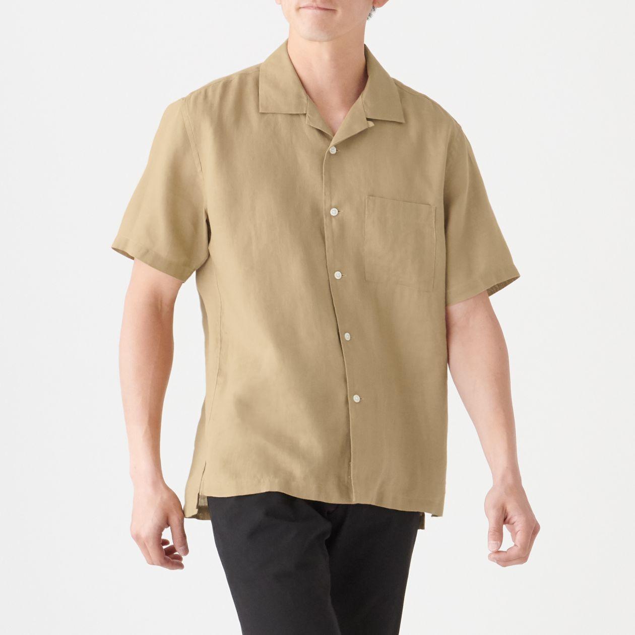 フレンチリネン洗いざらしオープンカラー半袖シャツ