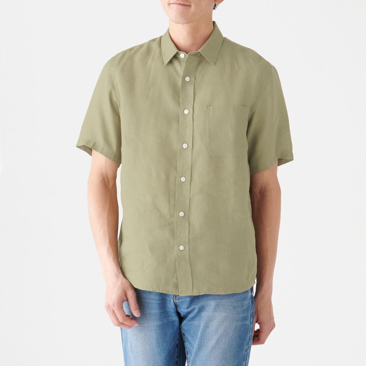 フレンチリネン洗いざらし半袖シャツ