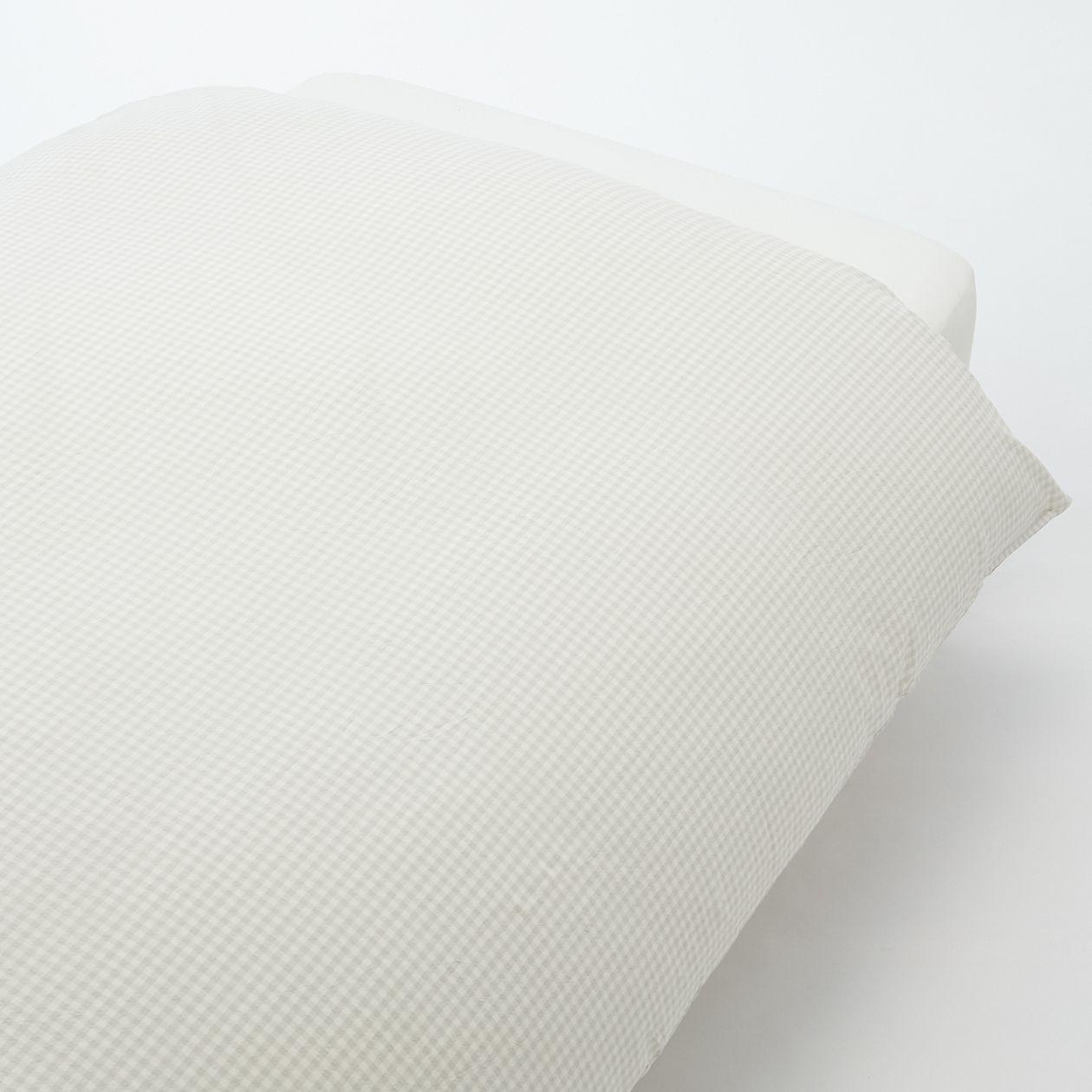 綿洗いざらし掛ふとんカバー・Q/グレーチェック