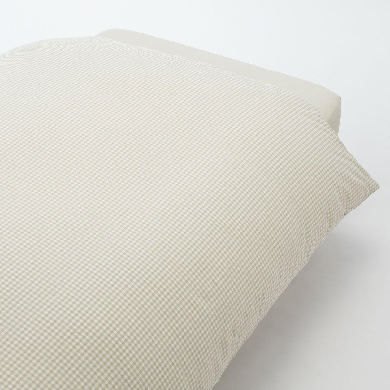 綿洗いざらし掛ふとんカバー・D/ライトベージュチェック