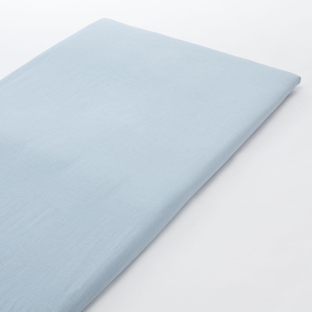 綿洗いざらし敷ふとんシーツ・ゴム付き・SD/ライトブルー