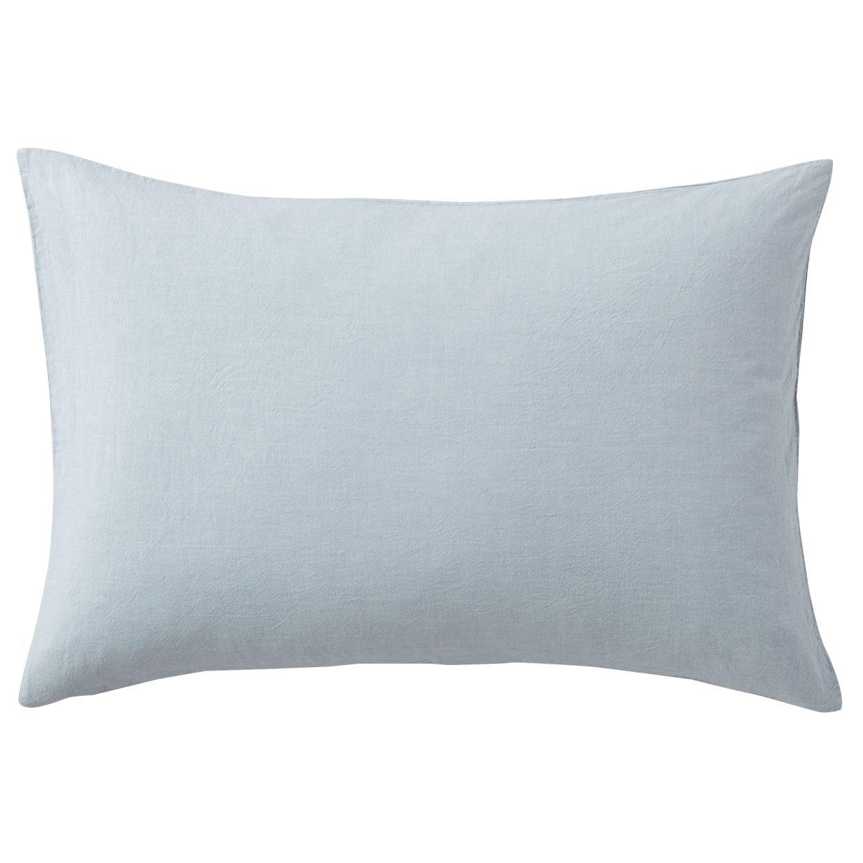 綿洗いざらしまくらカバー/ライトブルー