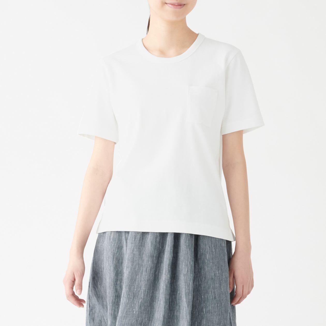 太番手天竺編みクルーネック半袖Tシャツ
