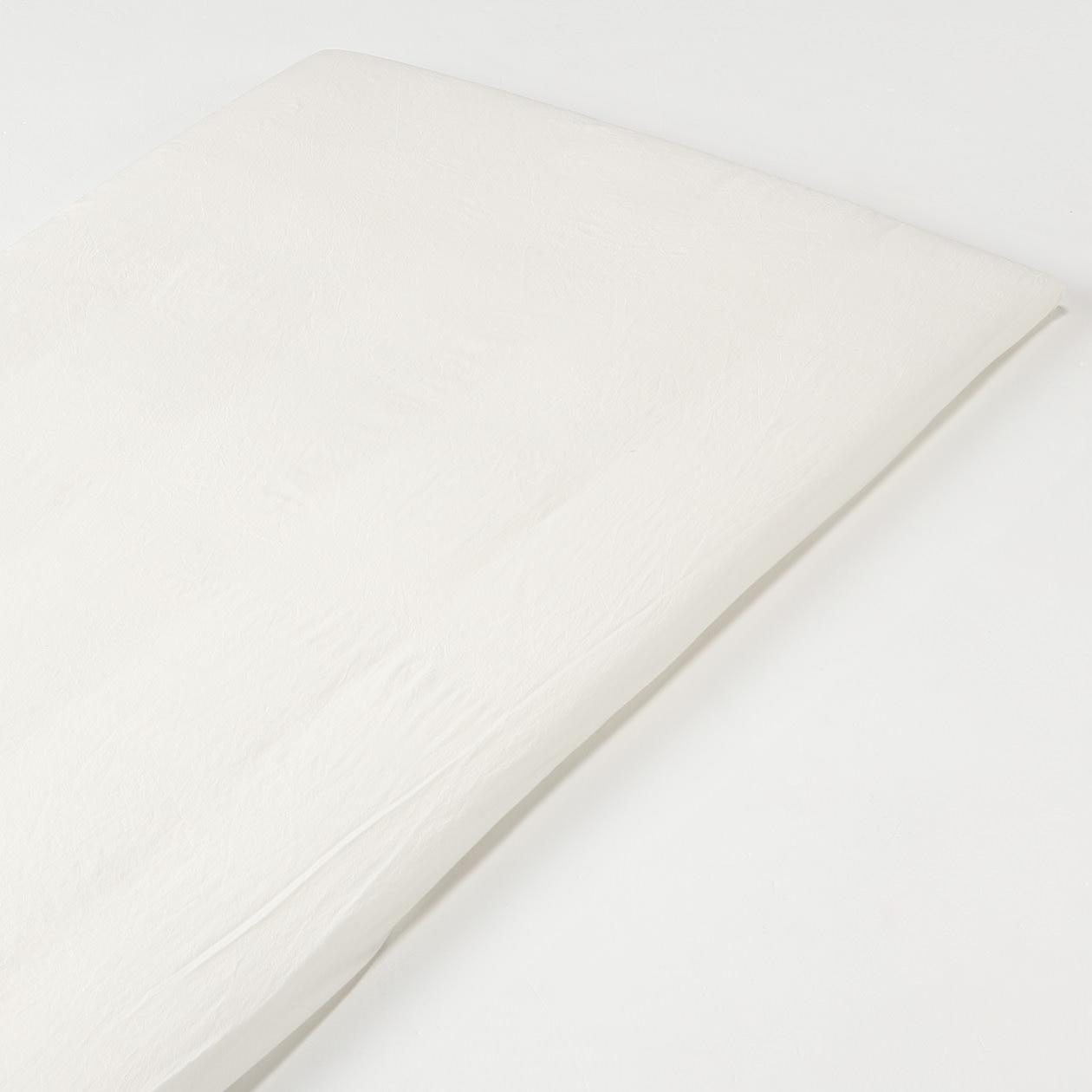 オーガニックコットン洗いざらしボックスシーツ・マットレス薄型スモール用/生成