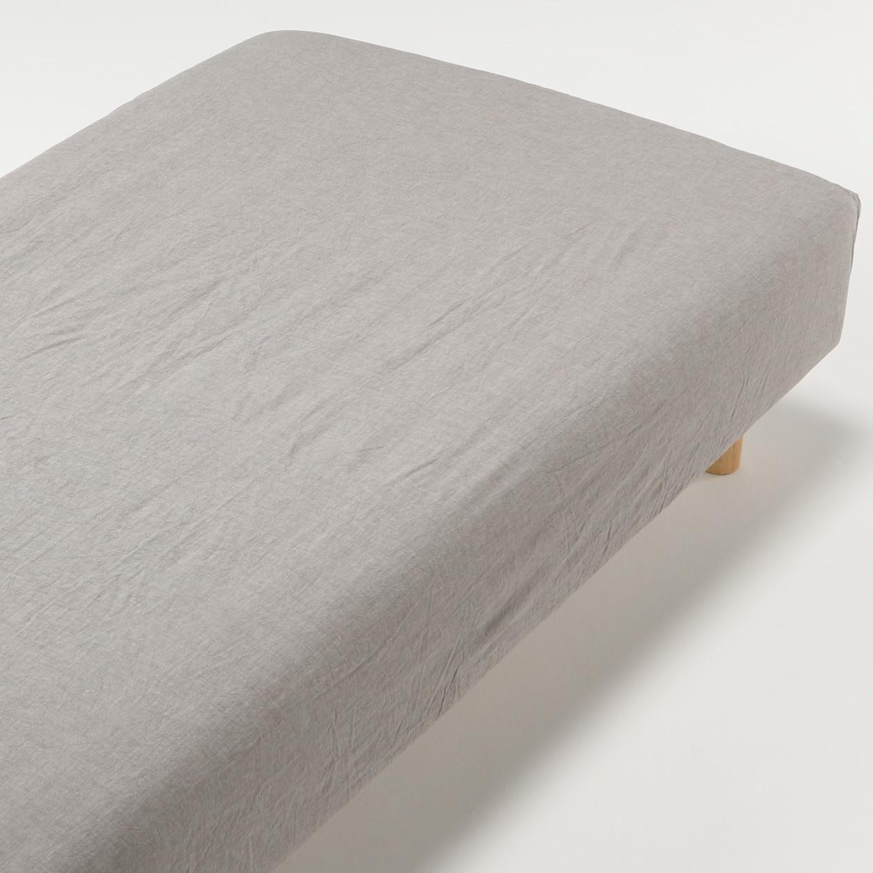 オーガニックコットン洗いざらしボックスシーツ・SD/ブラウンの写真