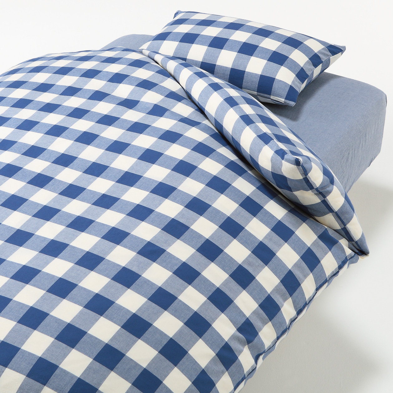 COVER SET FOR BED D BLUE CHECK