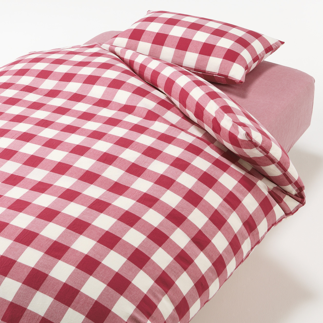 COVER SET FOR BED S RED CHECK