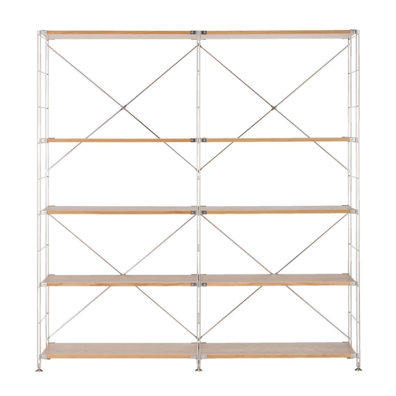 ステンレスユニットシェルフ・オーク材・壁面収納セット