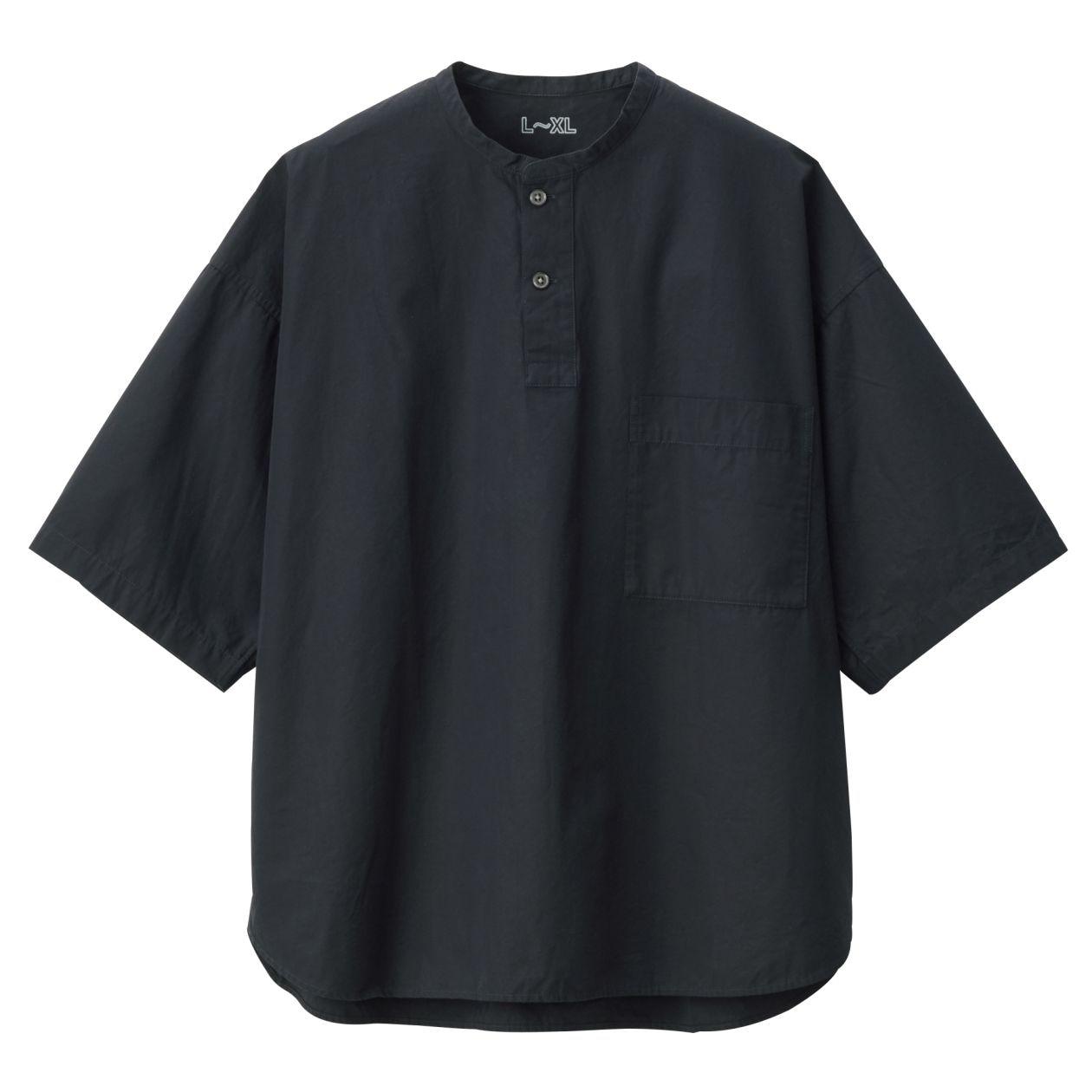 綿ブロードスタンドカラープルオーバー半袖シャツ