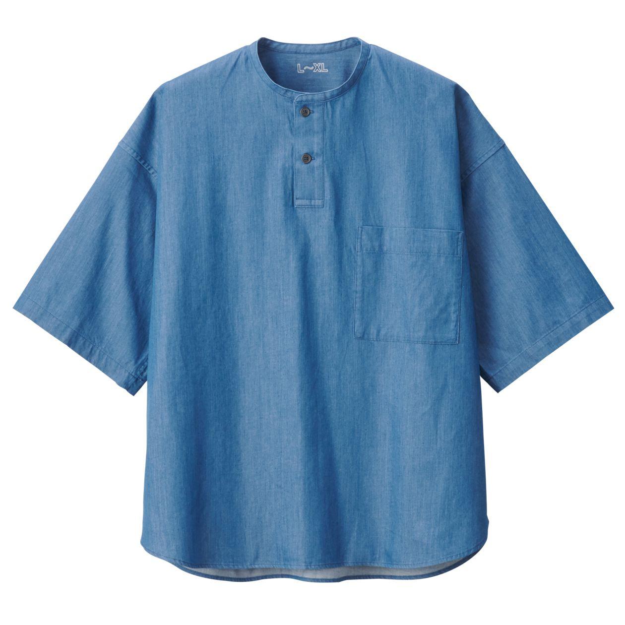ジャパンファブリックインディゴスタンドカラー半袖シャツ