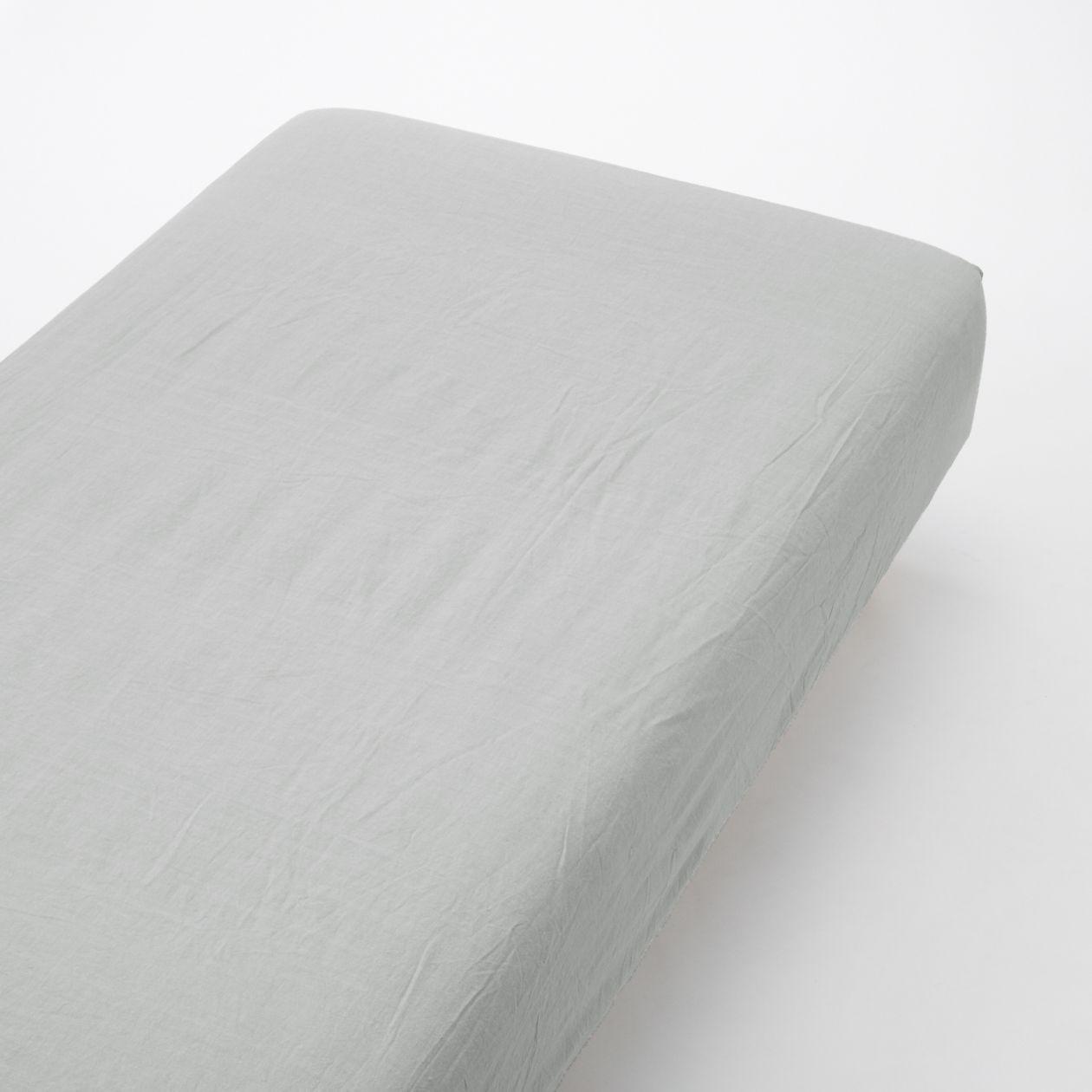 綿洗いざらしボックスシーツ・S/グレー