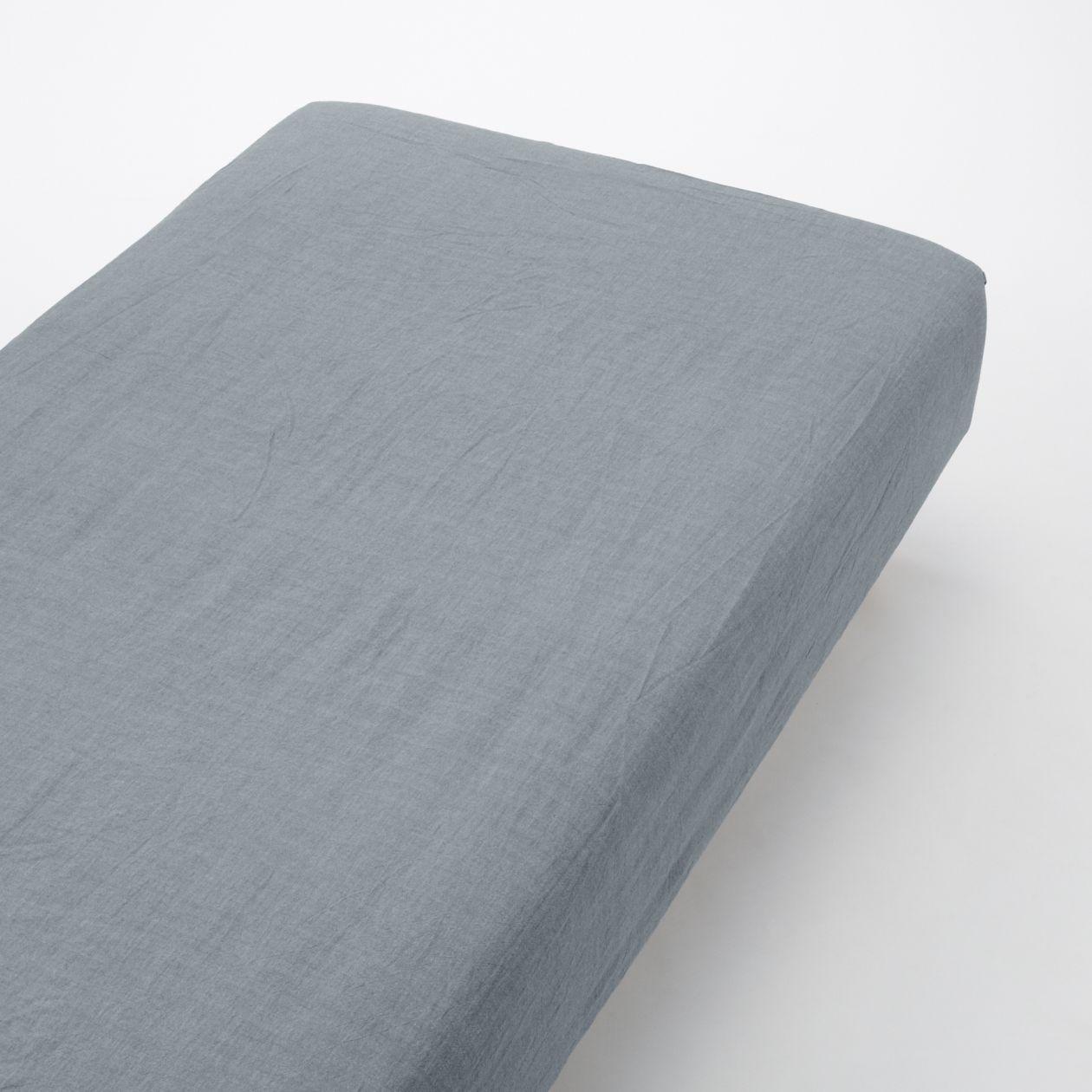 綿洗いざらしボックスシーツ・Q/ネイビー